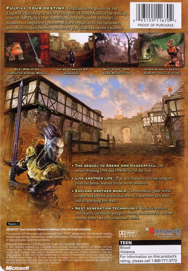 The Elder Scrolls III: Morrowind (2002) Xbox box cover art ...