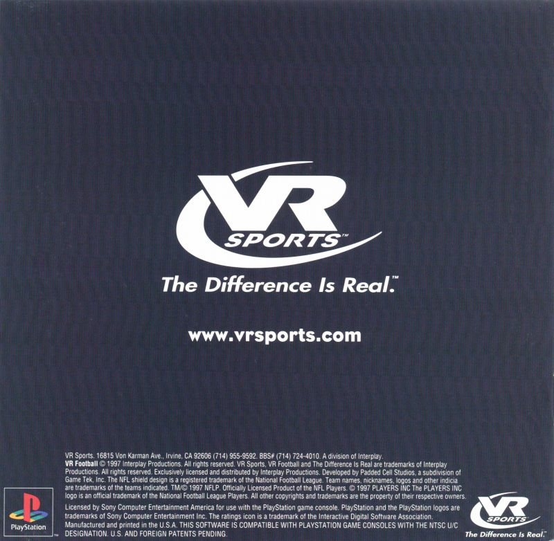 Jimmy Johnson's VR Football '98 PlayStation Inside Cover Front Reverse