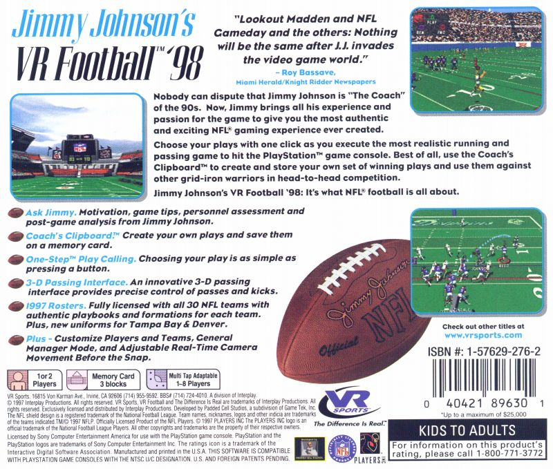 Jimmy Johnson's VR Football '98 PlayStation Back Cover