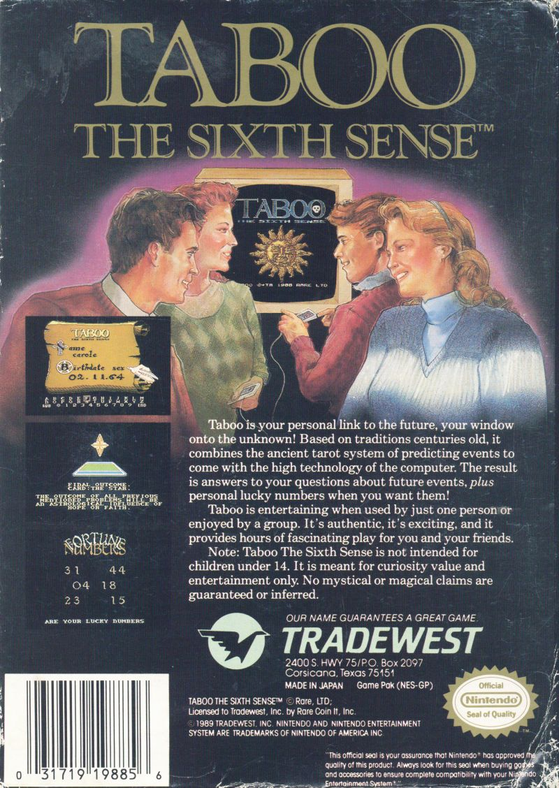 Taboo: The Sixth Sense NES Back Cover