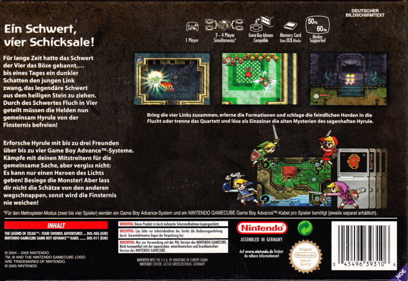 The Legend of Zelda: Four Swords Adventures GameCube Back Cover