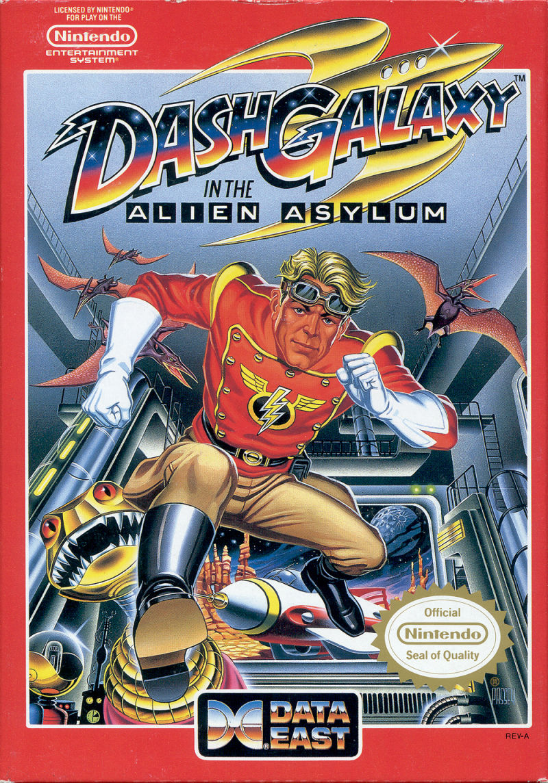 Dash Galaxy in the Alien Asylum NES Front Cover