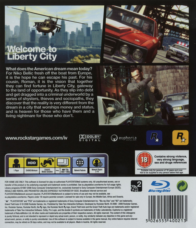 Grand Theft Auto IV PlayStation 3 Back Cover