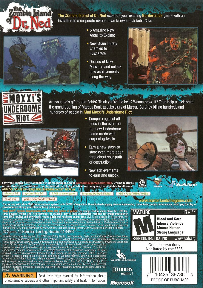 Borderlands: Double Game Add-on Pack Xbox 360 Back Cover