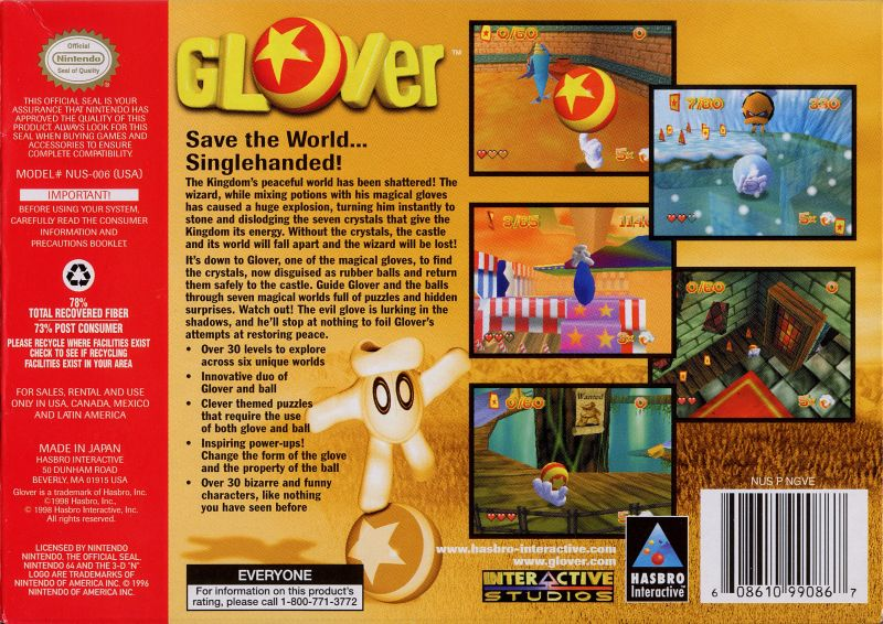 Glover Nintendo 64 Back Cover