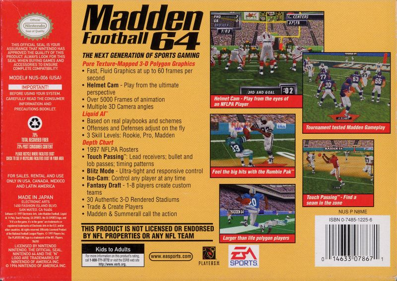 Madden Football 64 Nintendo 64 Back Cover