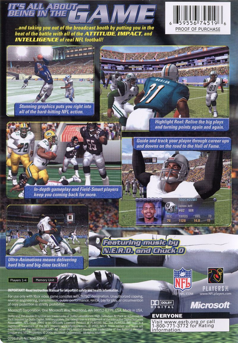 NFL Fever 2002 Xbox Back Cover