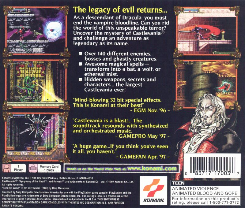 Castlevania: Symphony of the Night PlayStation Back Cover