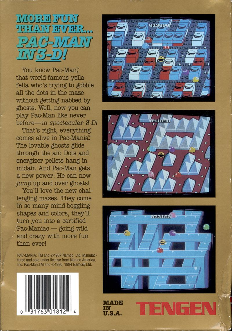 Pac-Mania NES Back Cover