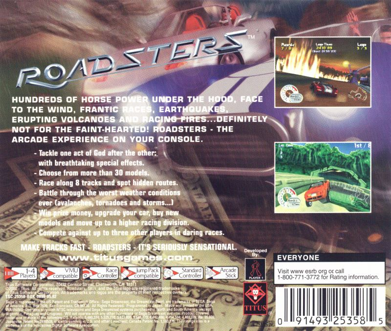 Roadsters Dreamcast Back Cover