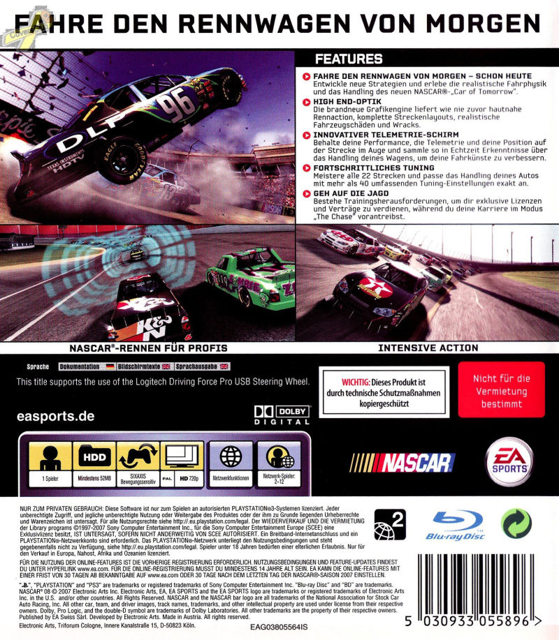 NASCAR 08 PlayStation 3 Back Cover