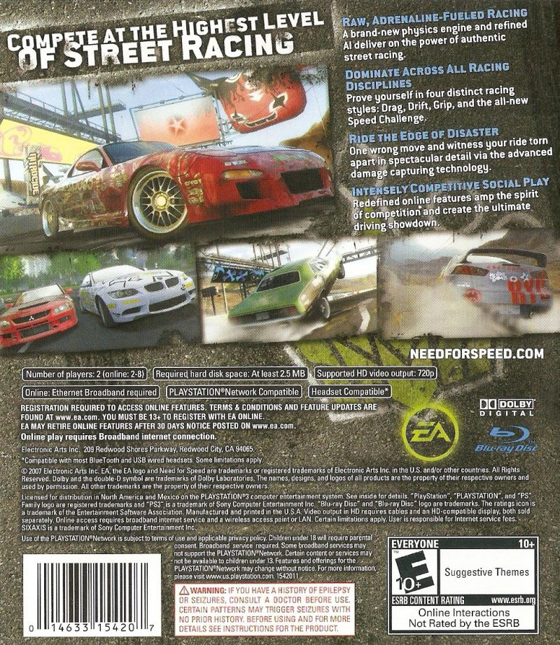 Need For Speed ProStreet PlayStation 3 Back Cover