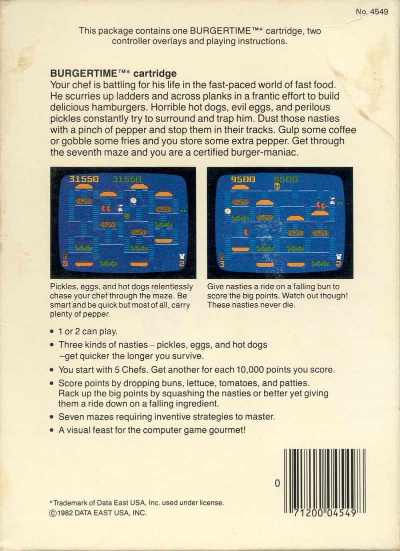BurgerTime Intellivision Back Cover