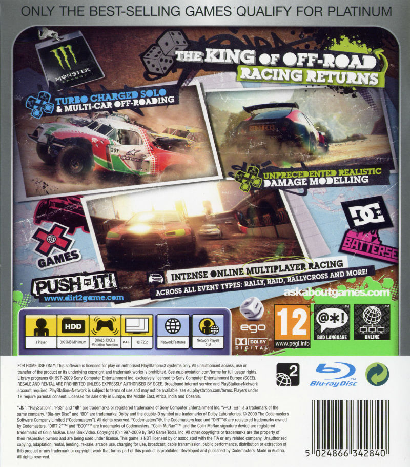 dirt 2 2009 playstation 3 box cover art mobygames. Black Bedroom Furniture Sets. Home Design Ideas