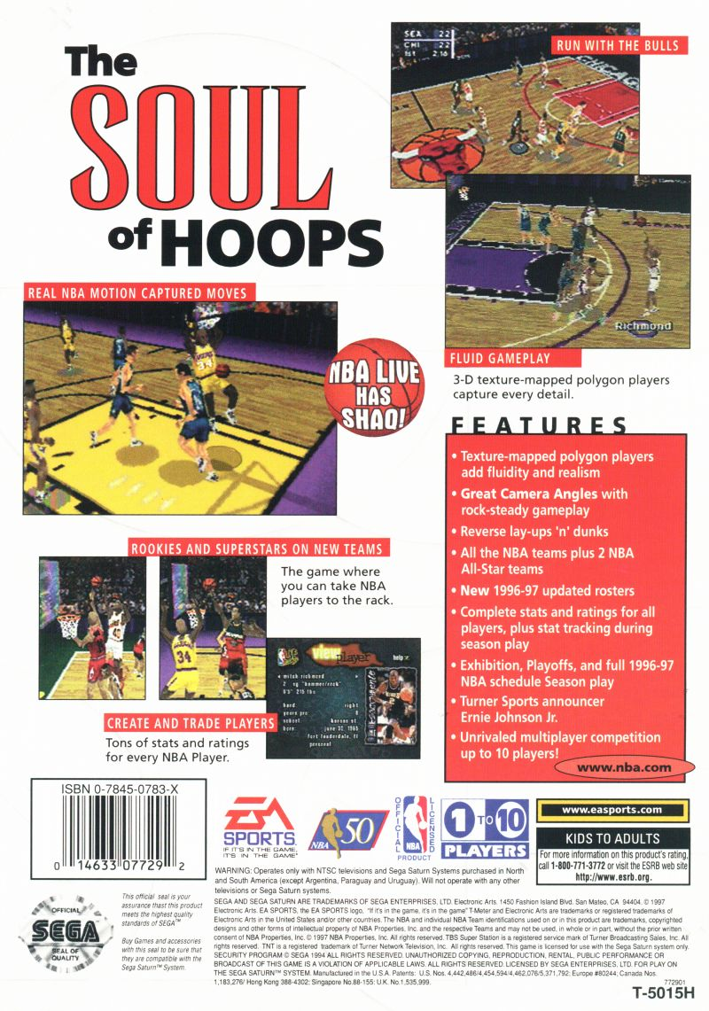 NBA Live 97 SEGA Saturn Back Cover