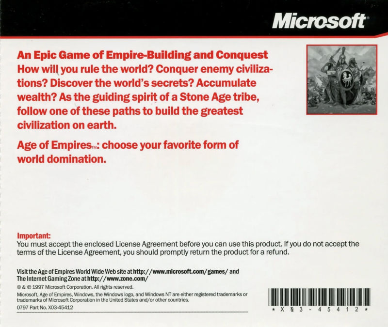 Age of Empires Windows Other Jewel Case - Back