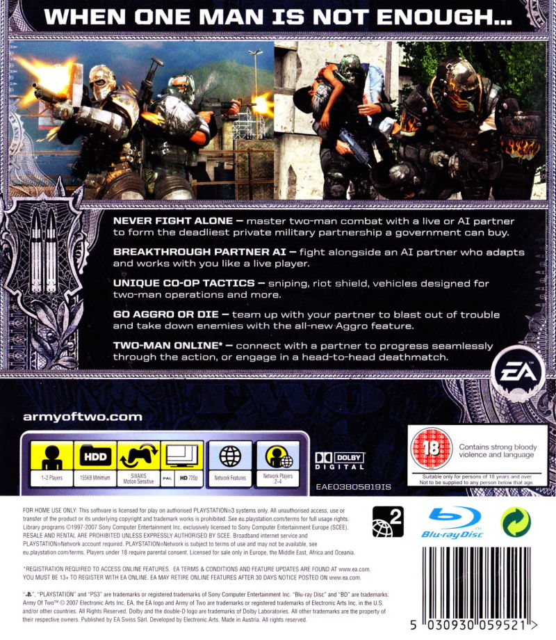 Army of Two PlayStation 3 Back Cover