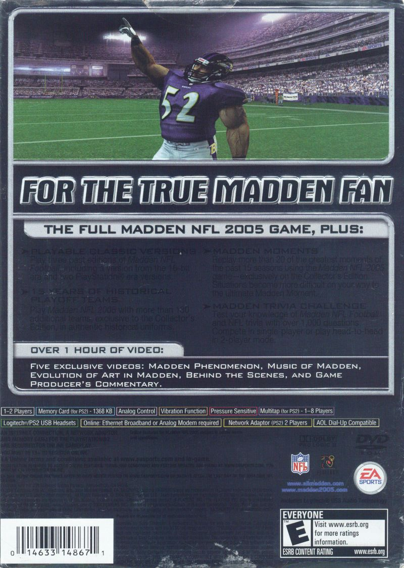 Madden NFL 2005 (Collector's Edition) PlayStation 2 Back Cover