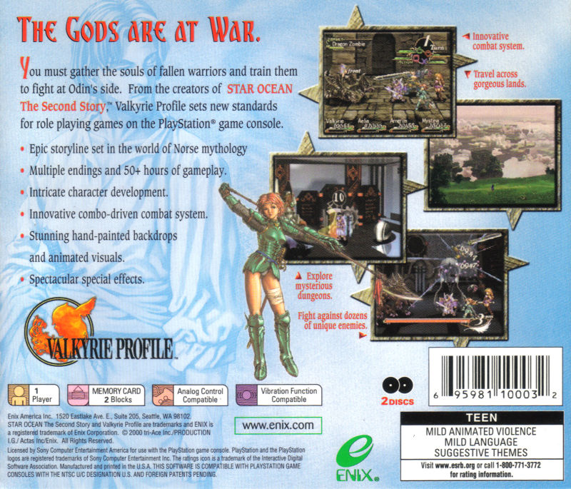 Valkyrie Profile PlayStation Back Cover