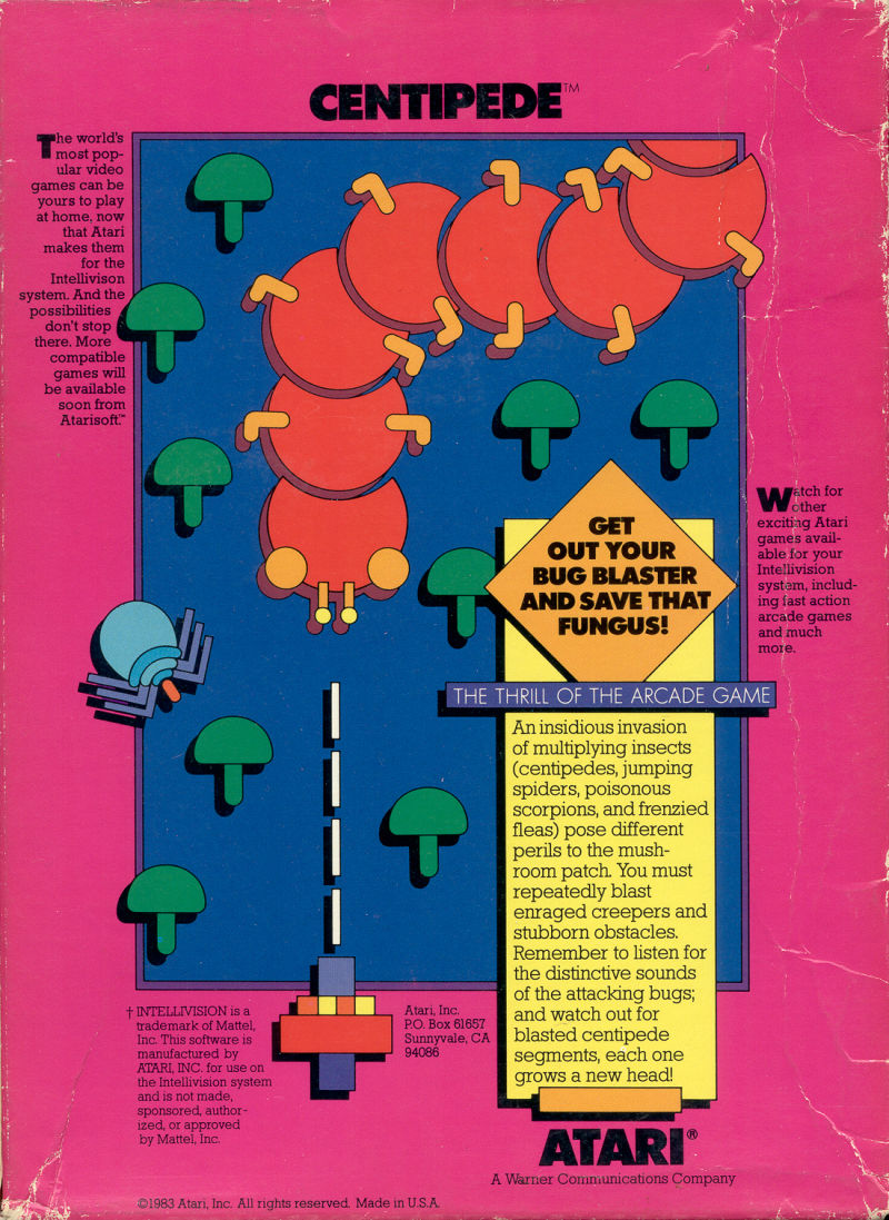 Centipede Intellivision Back Cover