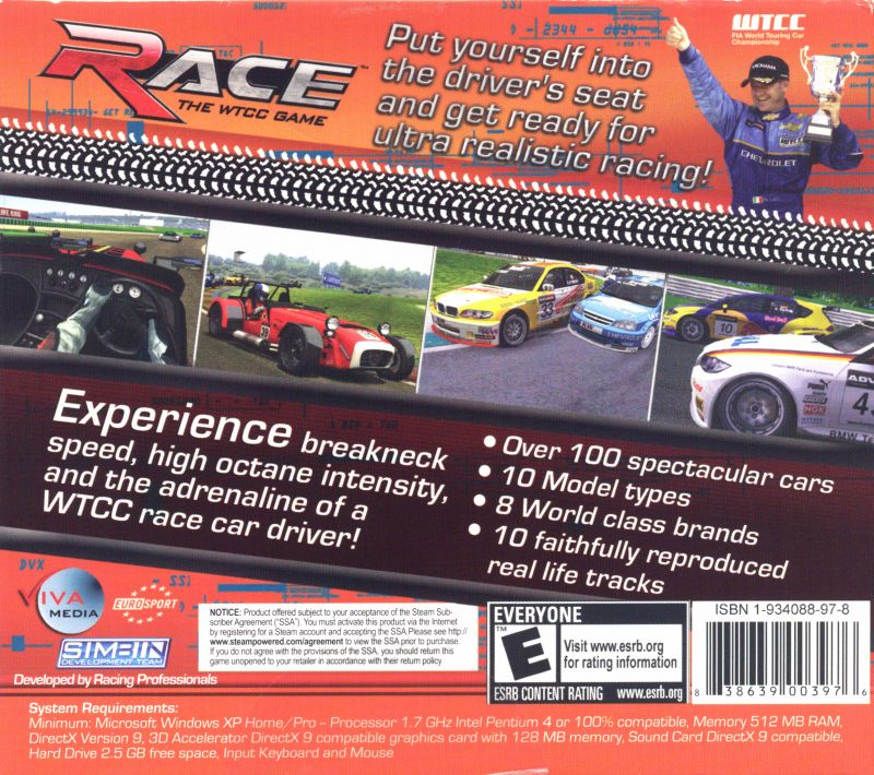 Race: The Official WTCC Game Windows Back Cover