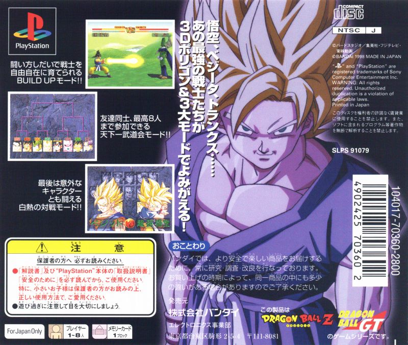 Dragon Ball GT: Final Bout PlayStation Back Cover