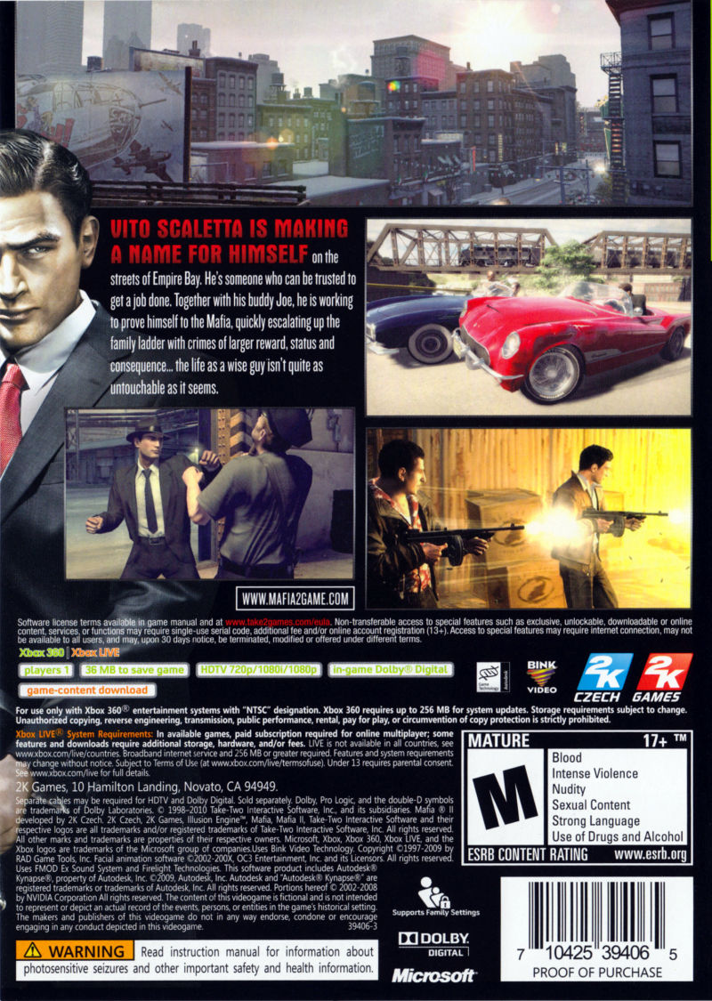 Xbox 360 Game Cover Back Mafia II (2010) Xbox 3...