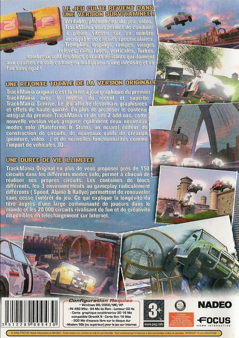 TrackMania Original Windows Back Cover