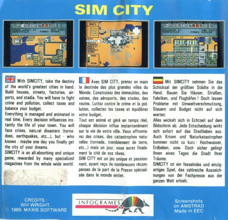 SimCity ZX Spectrum Back Cover