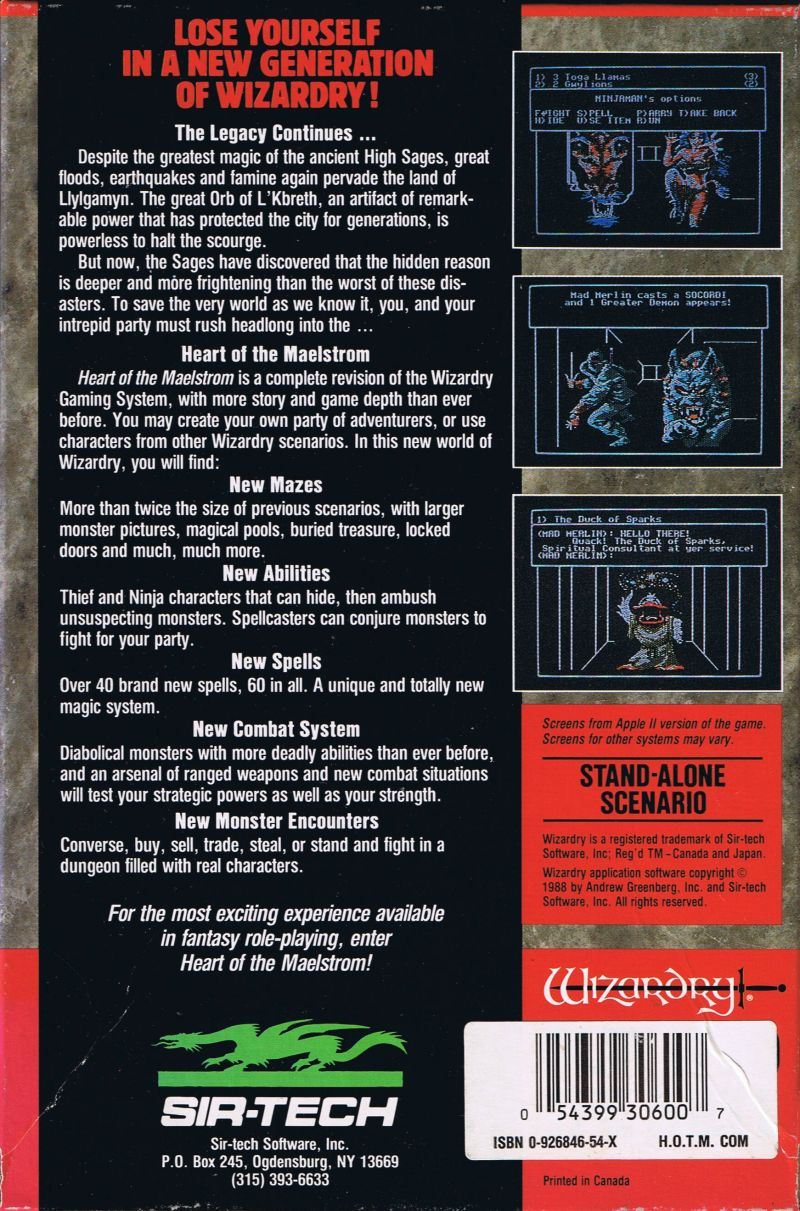 Wizardry V: Heart of the Maelstrom Commodore 64 Back Cover