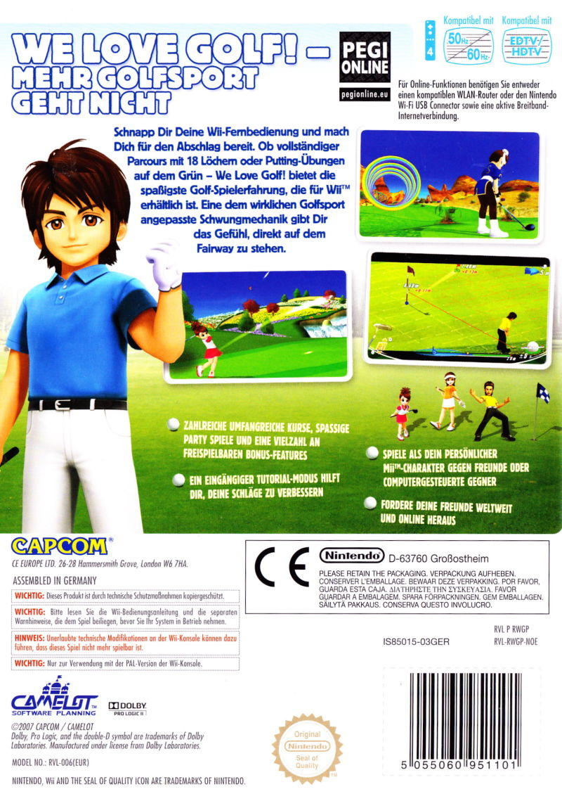 We Love Golf! (2008) Wii box cover art - MobyGames
