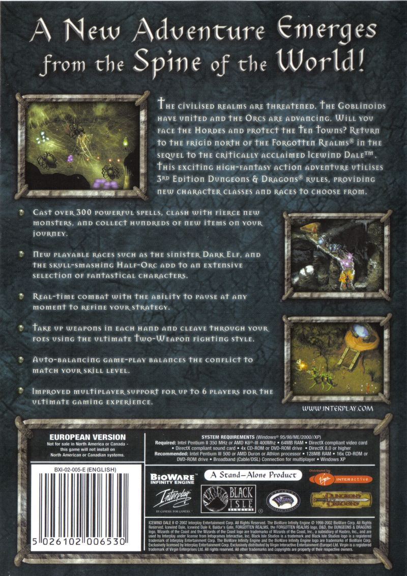 Icewind Dale II Windows Back Cover