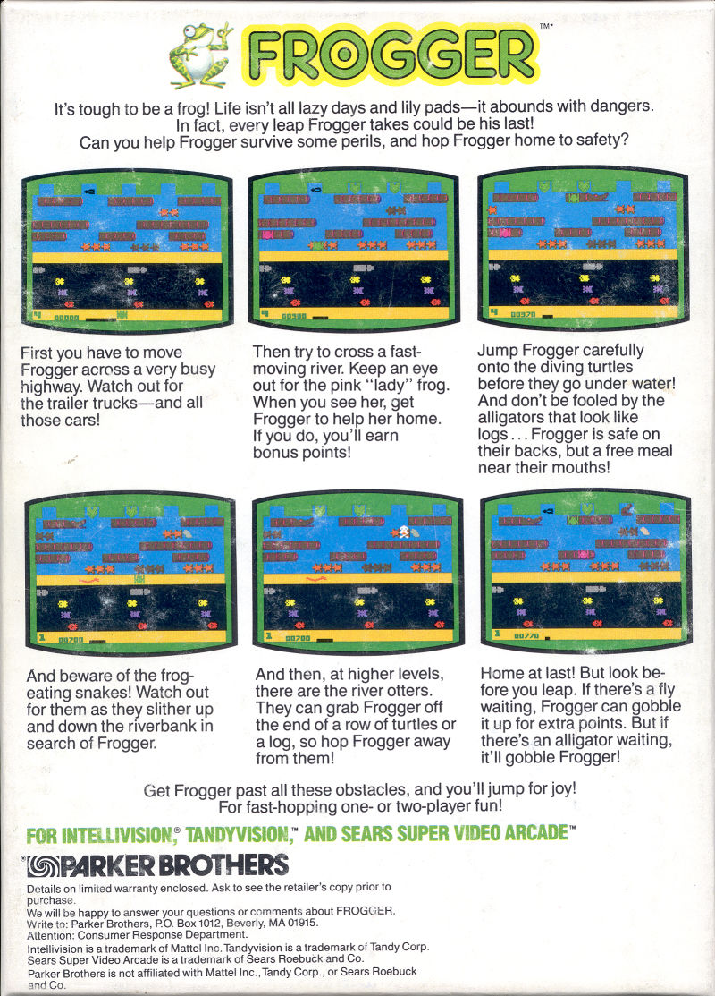 Frogger Intellivision Back Cover
