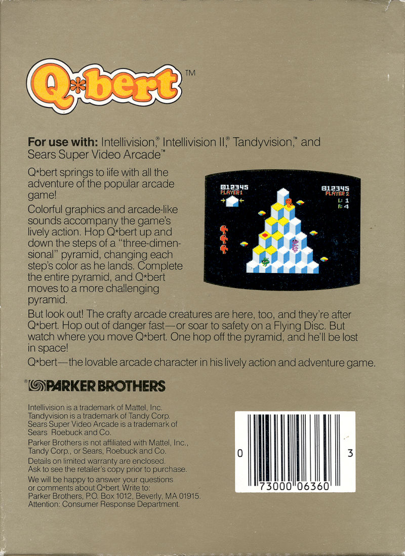 Q*bert Intellivision Back Cover