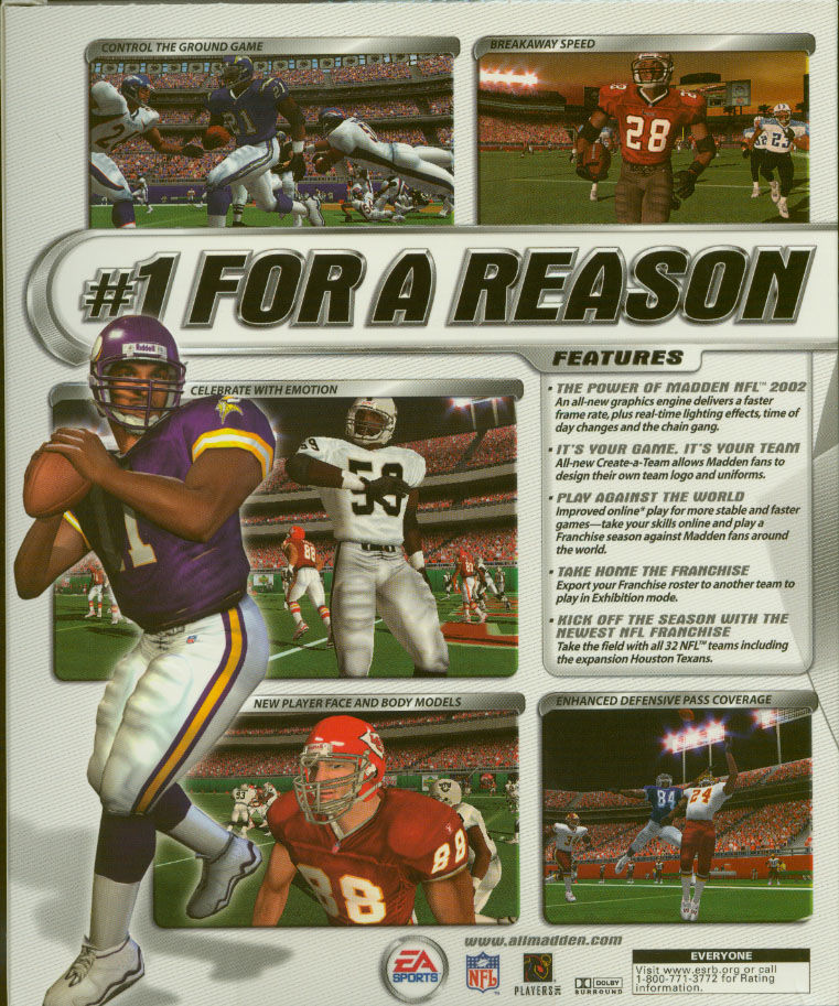 Madden NFL 2002 Windows Back Cover