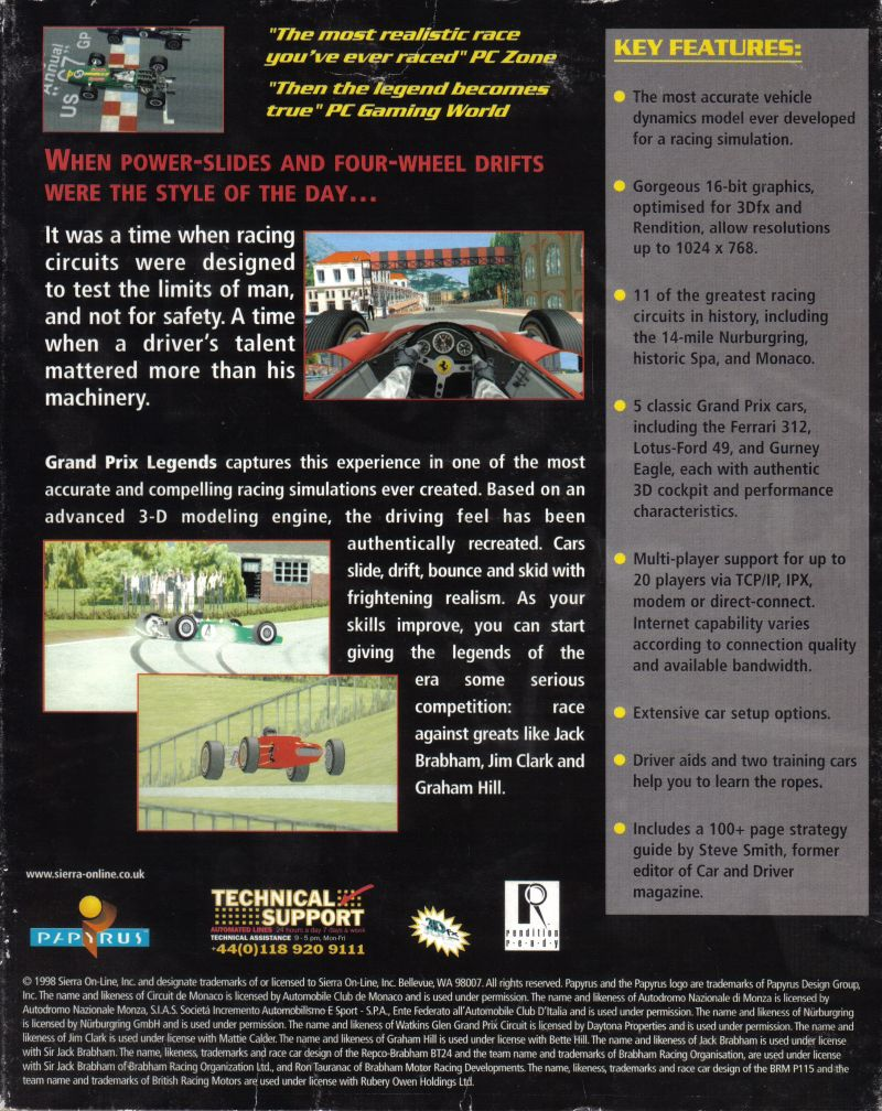 Grand Prix Legends (1998) Windows box cover art - MobyGames
