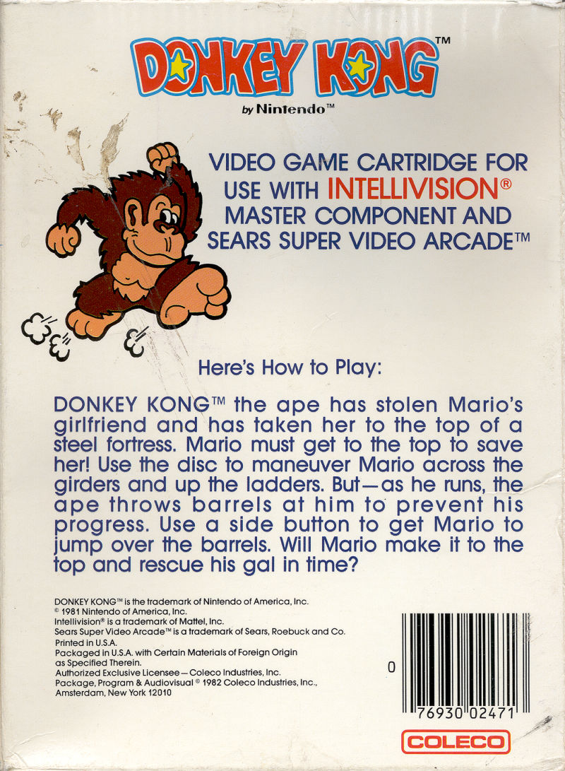 Donkey Kong Intellivision Back Cover