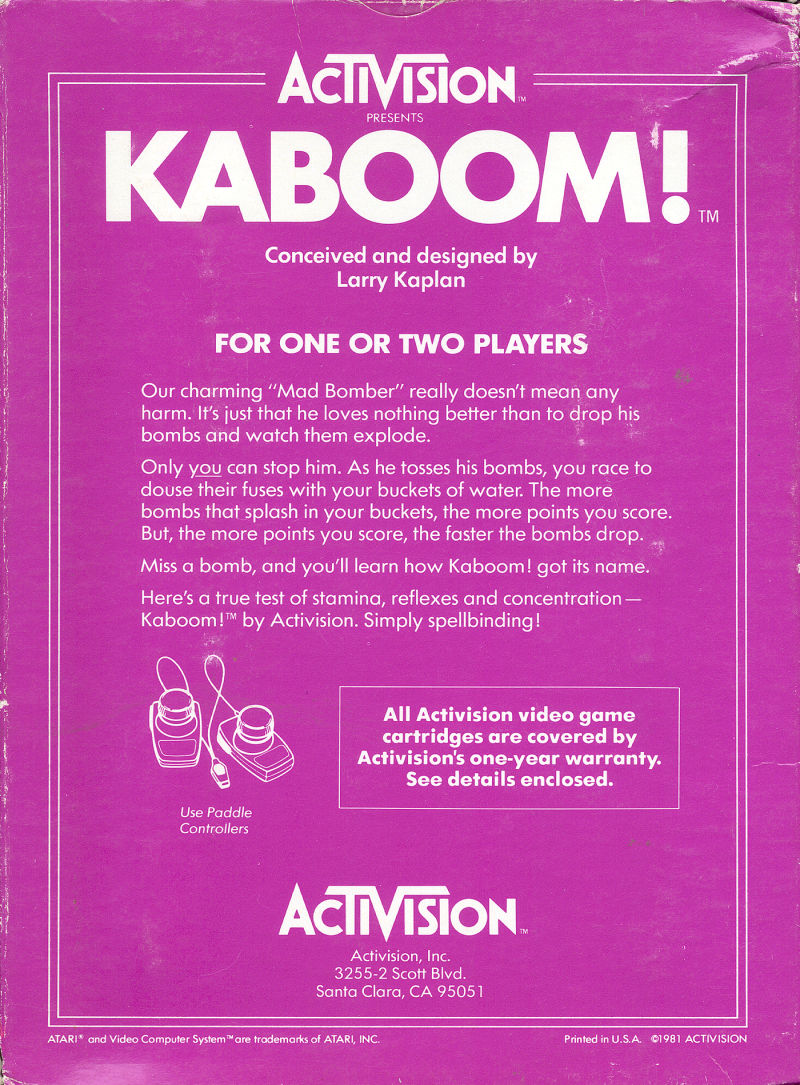 Kaboom! Atari 2600 Back Cover