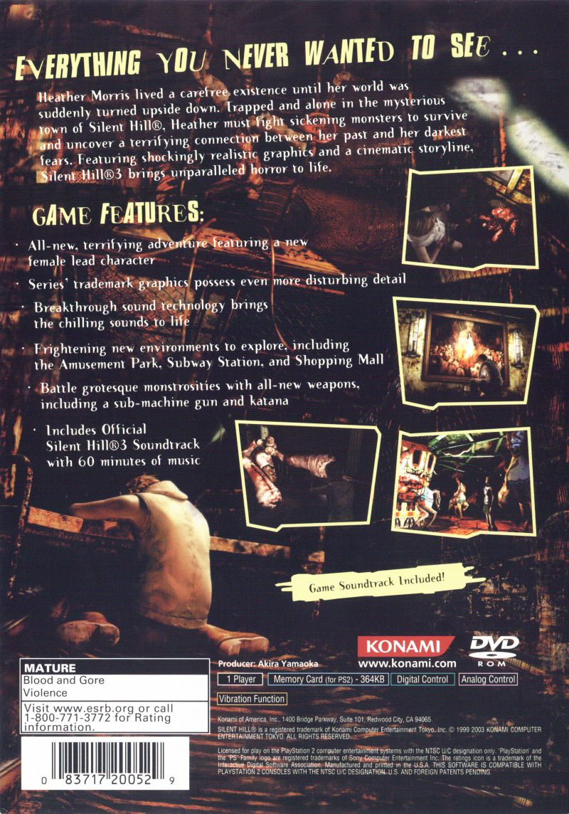 Silent Hill 3 2003 Playstation 2 Box Cover Art Mobygames