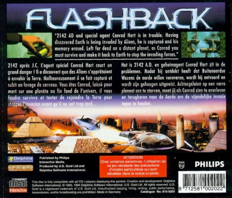 Flashback: The Quest for Identity CD-i Other Jewel Case - Back