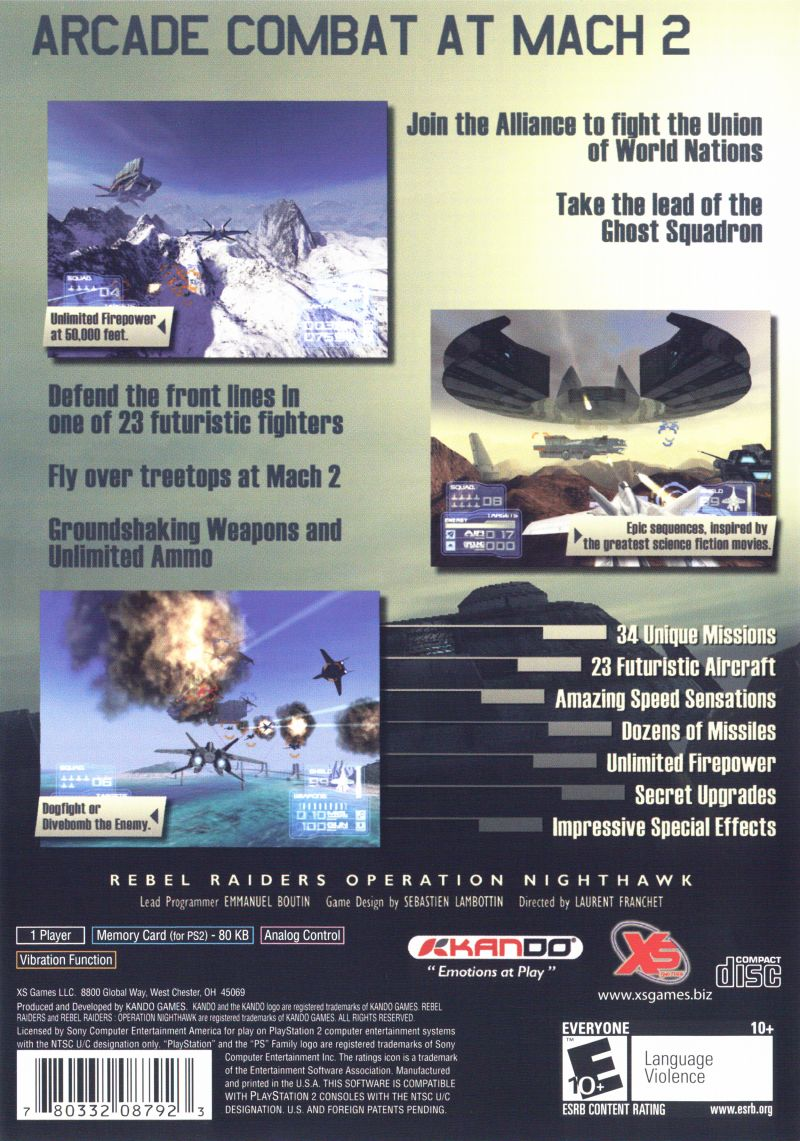 Rebel Raiders: Operation Nighthawk PlayStation 2 Back Cover