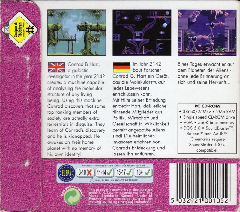 Flashback: The Quest for Identity DOS Other Digipak - Back