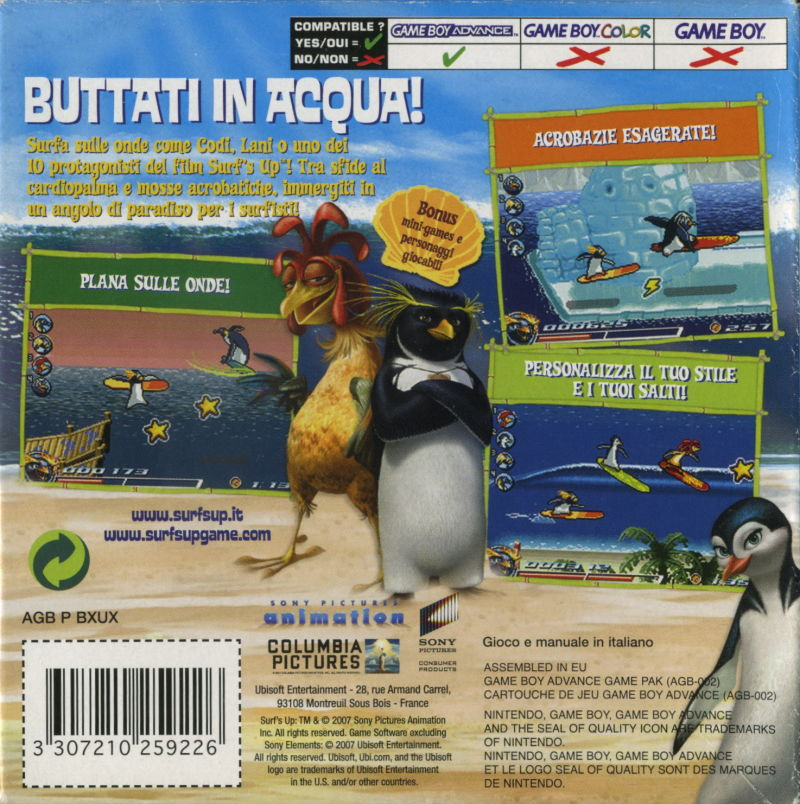 Surf's Up Game Boy Advance Back Cover