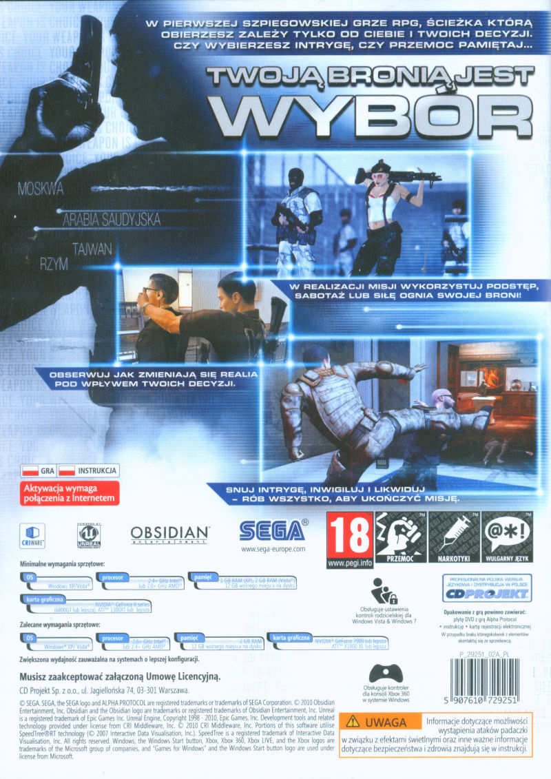 Alpha Protocol Windows Other Keep Case - Back