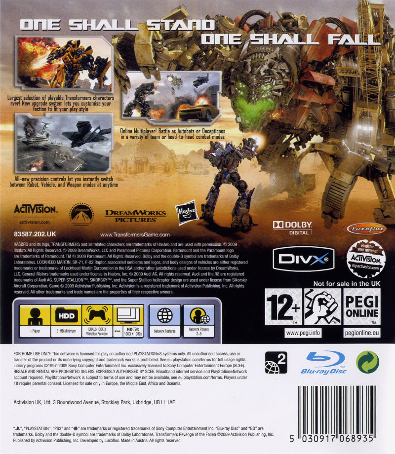 Transformers: Revenge of the Fallen PlayStation 3 Back Cover