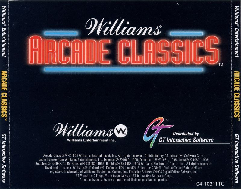 Williams Arcade Classics DOS Other Jewel Case - Back
