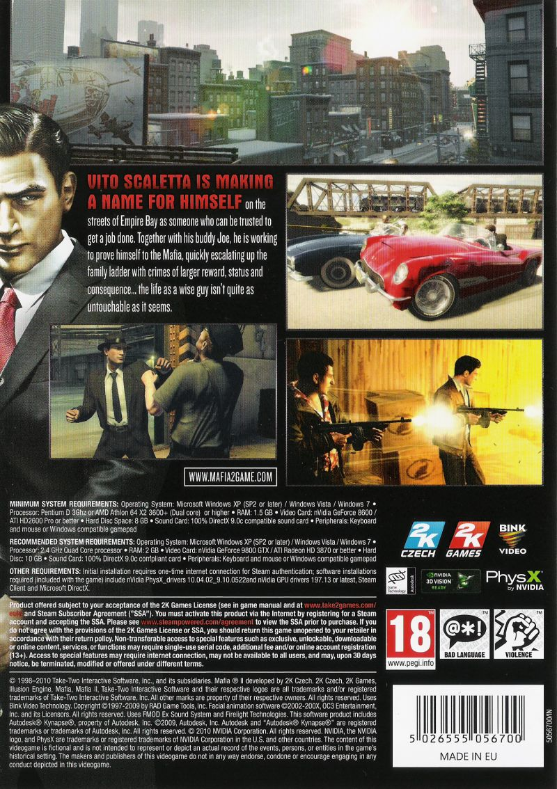 Mafia II Windows Other Keep Case - Back