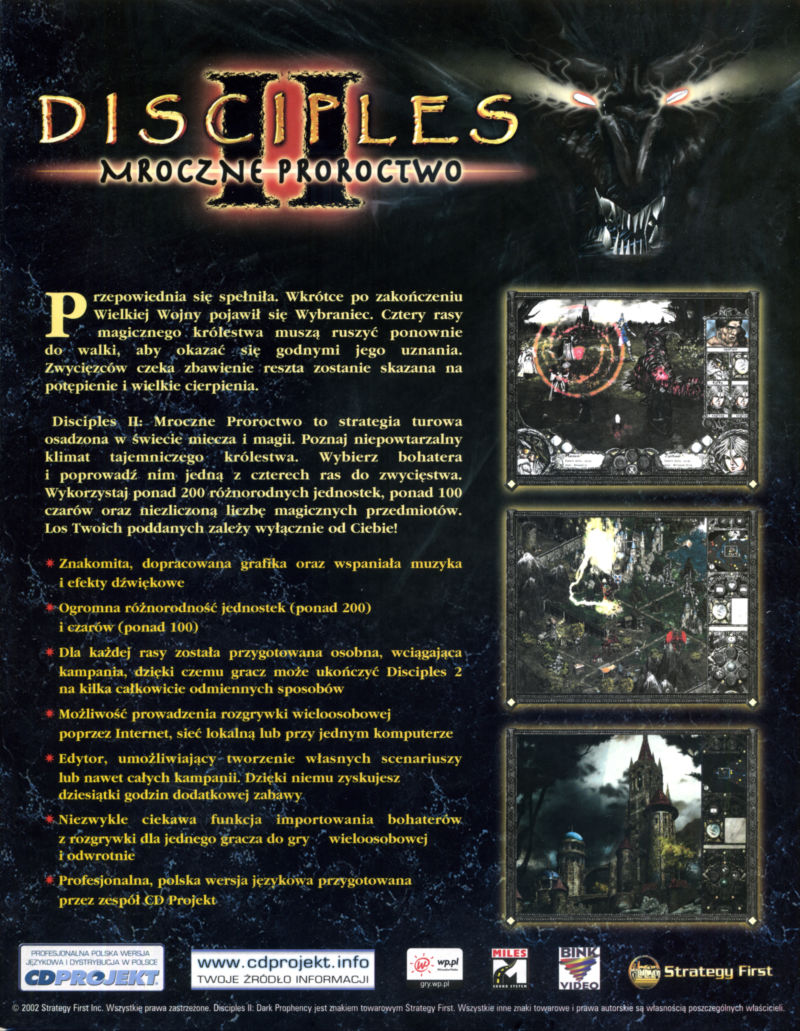 Disciples II: Dark Prophecy Windows Back Cover