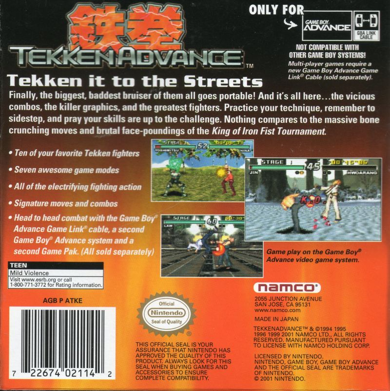 Tekken Advance Game Boy Advance Back Cover