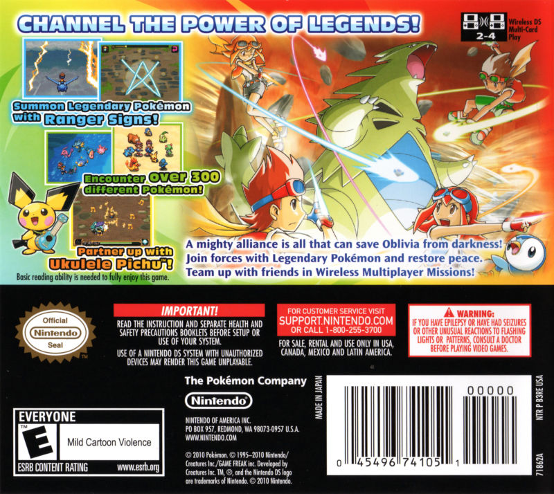 Pokémon Ranger: Guardian Signs Nintendo DS Back Cover